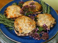 Cheesy mushrooms stuffed with herbs